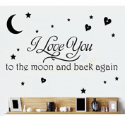I Love You To The Moon And Back Again Removable Wall Stickers Decal Mural Self Adhesive Paper Home Decals Decor Art