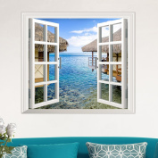 (12058-u) 3D ARTIFICIAL WINDOW VIEW 3D WALL DECALS SEA VIEW ROOM STICKERS