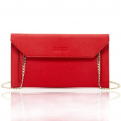 SUSU Bond Saffiano Leather Envelope Clutch with Long Chain