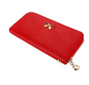 edfamily Lady Women Clutch Bowknot Leather Long Wallet Card Holder Purse Handbag Bag with Wriststrap