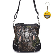 Cowgirl Trendy Women Western Camouflage Cross Body Messenger Bag Shoulder Purse Black Free Key Chain