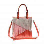 Multi Tones Two Layer Fringe Women's Tote Handbag with Crossbody Strap