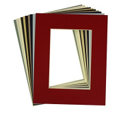 Mat Board Centre, High Quality Crescent Pack of 10, 8x10 MIXED colours Cream Core Picture Mats Mattes Matting for 5x7 Photo