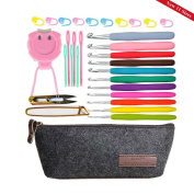11 Sizes Crochet Hook Set,Ergonomic Grip Crochet Hooks Kit,With Crochet Hook Case Organiser,Comfort Grip Crochet Needles ★Plastic Sewing Yarn Needles,Stitch Markers,Row Counter & More!
