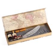 GC Quill Pen - 2 Bottle Inks - Copper Pen Stem - Antique True Feather Metal Nibbed Calligraphy Pen, Dip Pen L16112 For Harry Potter Fans