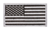 American Flag Patch Silver And Black With Hook And Loop Back