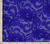 Royal Blue Flower with Leaf Stretch Lace Fabric 4 Way Stretch Nylon 170cm - 180cm