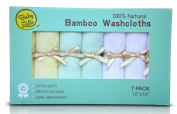 7 Extra Soft Baby Bath Washcloths (25cm x 25cm ) by Baby Zelis, 100% Natural Bamboo Baby Towels, Perfect Gift for Sensitive Baby Skin