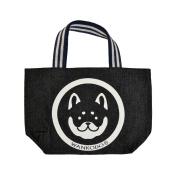 Wankodo Shiba Inu Design Denim Fabric Tote Bag Lunch Bag