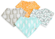 Baby Bandana Drool Bibs by MyKiddy ★ Premium Set of 4 Extra Absorbent Baby Bibs for Girls and Boys (Unisex) with Adjustable Snaps