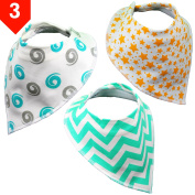 Drool Bandana Unisex (Set of 3) - Cute Bandana Bib Set - . Organic Cotton Drool Bibs by BabyBecca