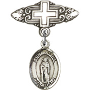 Sterling Silver Baby Badge with St. Samuel Charm and Badge Pin with Cross 2.5cm X 1.9cm