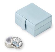 Silver Touch USA Sterling Silver Baby First Tooth/First Curl Keepsake Box, Blue