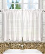 Ellis Curtain Stacey 140cm by 80cm Tailored Tier Pair Curtains, White, 56x 30