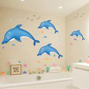 HLDIY Blue Dolphin & Fish Bathroom Wall Stickers Kids Nursery Room Decor Sea Ocean