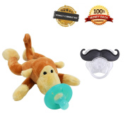 Tinabliss Infant Pacifier with Plush Stuffed Animal and One Moustache pacifier Cute Monkey Toys Provides Comfort and Fun