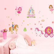 ufengke® Fairy Tales Princess Prince Angel Horse Carriage Castle Wall Decals Fluorescence Stickers Glow In The Dark, Children's Room Nursery Removable Wall Stickers Murals