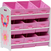 "IB-Style -Children's Storage unit ""Papillon"" with 9 fabric drawers, pretty and cheerful design 