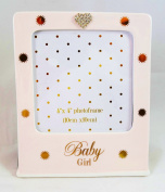 Baby Girl Photo Frame Picture Pink Gold Heart Crystal Diamante New Nursery Gifts