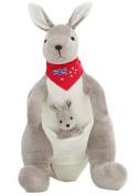 Smile YKK Scarf Kangaroo Baby Plush Stuffed Animal Cuddle Dolls Toys Red 50cm