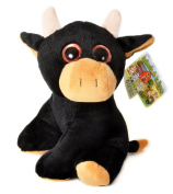 "ANIMALS ON THE FARM - Plush Toy black Bull with bright eyes (10""/26cm) - Super Soft Quality"