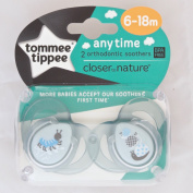 Tommee Tippee Closer To Nature Any Time Soother Twin Pack - 6-18m
