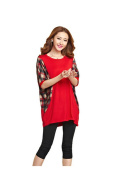 MelBedy Women Oversized Batwing Sleeve T Shirt and Blouse Loose Fit Plaid Tops