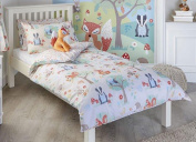 Woodland Animal Toddler Duvet Cover Set, Single Duvet Set, Double Duvet Set, Pair Pencil Pleat Curtains & Wall Art
