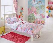 Unicorn Design Toddler Duvet Set, Single Bed Duvet Set, Curtains Wall Art In pInk