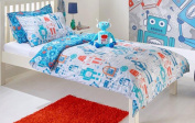 Robot Duvet Cover Set Toddler Bed, Single Bed, Double Bed, Curtains & Wall Art