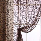 Ouneed Fashion 2mx1m Romantic Window Panel Drape Curtains Curtain Door Room Divider Sheer Voile Curtain