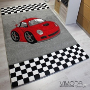 Vimoda Modern Short Pile Car Kids Rug Racing Car INFINITY6777 Frise Ökotex certified, Red, 160 x 230 cm