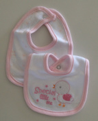 Tiny Me Little Bib for Baby Girl - Pack of 2 Premature Pink and White with Embroidery Special Little One '
