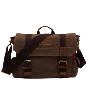 Unisex Canvas Leather Shoulder Bag Retro Messenger bags