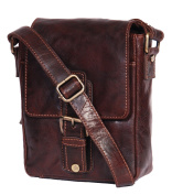 Mens brown leather messenger bag casual satchel organiser vintage retro MAN BAG