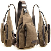 KD BARGAINS Men Canvas Backpack Shoulder Chest Hiking Bag