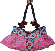 RaanPahMuang Brand Wide Angled Hill Tribe Clutch Bag Purse with Twisted Strap
