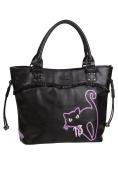 9 Lives Black Cat Kitty Broken Mirror Handbag School Shoulder Bag Black