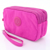 U-TIMES 3 Layers Nylon Large Cell Phone Pouch Clutch Wallet Bag With Wrist Strap