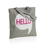 MONTEMAGGI Grey cotton bag with long handles with zip hello. Size
