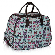 Womens Butterfly Print Cabin Approved Travel Holdall Luggage Bag and Wheels With PreciousBags Dust Bag