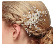 Miya® 1 Mega Glamour Bridal Comb Hair Comb Hair Comb with Lovely Flowers, Embellished with Pearls & Crystals - Bridal Jewellery Wedding/Confirmation (, Flower YY07
