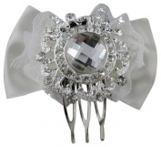 Desire Accessories New Mini Clear Crystal Haircomb on Champagne Satin Bow