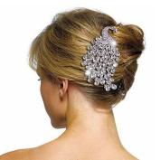Diamante Sparkling Crystal Peacock Haircomb