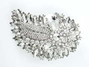 Desire Accessories Stunning Vintage Style Large Sparkling Crystal Floral Haircomb