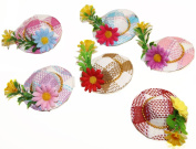 Set of 3 bibi Mini Hats Straw and Flowers Wedding Ceremony Cocktail Summer