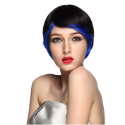 Namecute Short Ombre Black to Blue Cosplay Wig Natural Straight Wigs+Free Cap