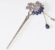 Oriental vintage Style Cloisonne Hair Stick Crystal Rhinestone Bird Of Paradise Design With Dangle Pendants By Ayame