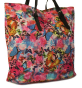 New Ladies/Womens Pink/Multi Butterfly & Rose Print Canvas Bag - Pink/Multi - UK SIZES 1-1