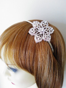 Desire Accessories Large Crystal Flower design Alice Headband Tiara Hairband